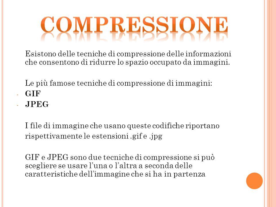 Esistono delle tecniche di compressione delle informazioni che consentono di ridurre lo spazio occupato da immagini. Le più famose tecniche di compres