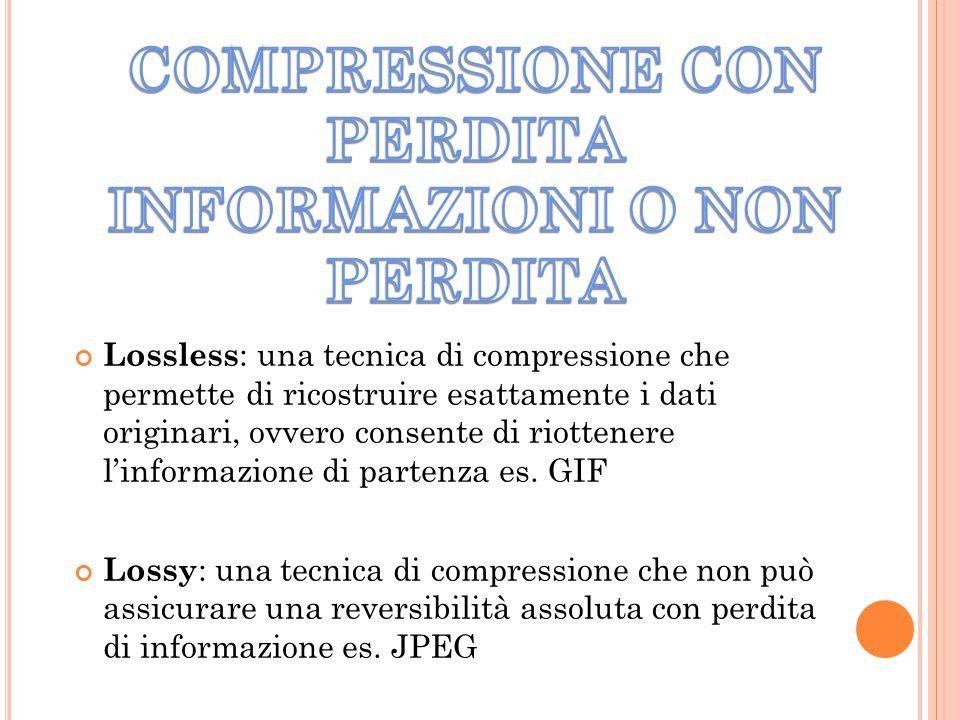 Lossless : una tecnica di compressione che permette di ricostruire esattamente i dati originari, ovvero consente di riottenere l'informazione di parte