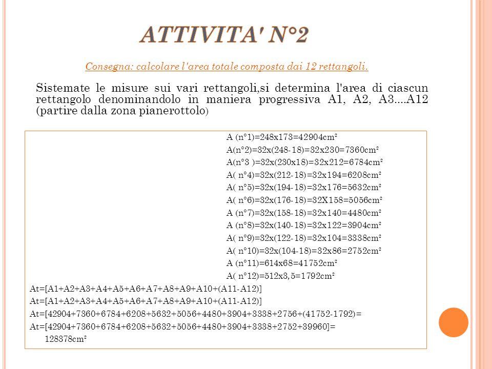 A (n°1)=248x173=42904cm² A(n°2)=32x(248-18)=32x230=7360cm² A(n°3 )=32x(230x18)=32x212=6784cm² A( n°4)=32x(212-18)=32x194=6208cm² A( n°5)=32x(194-18)=3