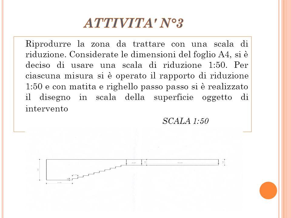 Riprodurre la zona da trattare con una scala di riduzione. Considerate le dimensioni del foglio A4, si è deciso di usare una scala di riduzione 1:50.