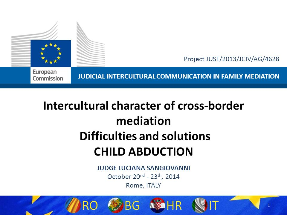 JUDICIAL INTERCULTURAL COMMUNICATION IN FAMILY MEDIATION Project JUST/2013/JCIV/AG/4628 Intercultural character of cross-border mediation Difficulties