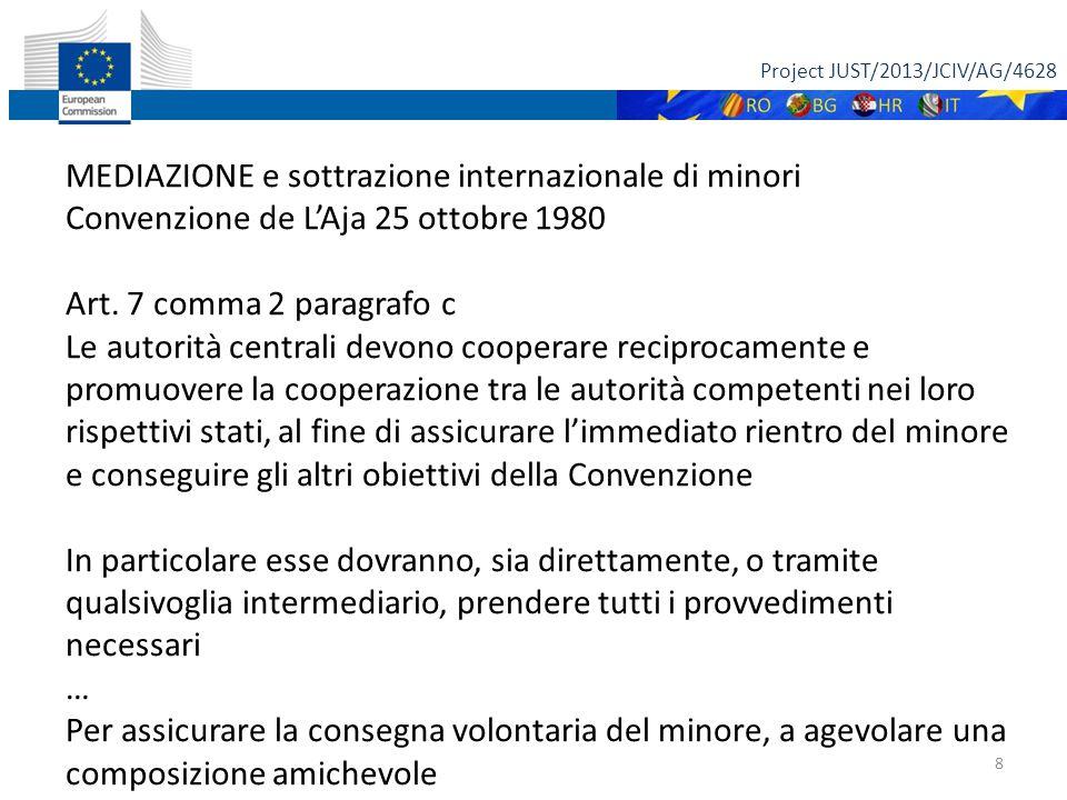 Project JUST/2013/JCIV/AG/4628 8 MEDIAZIONE e sottrazione internazionale di minori Convenzione de L'Aja 25 ottobre 1980 Art.