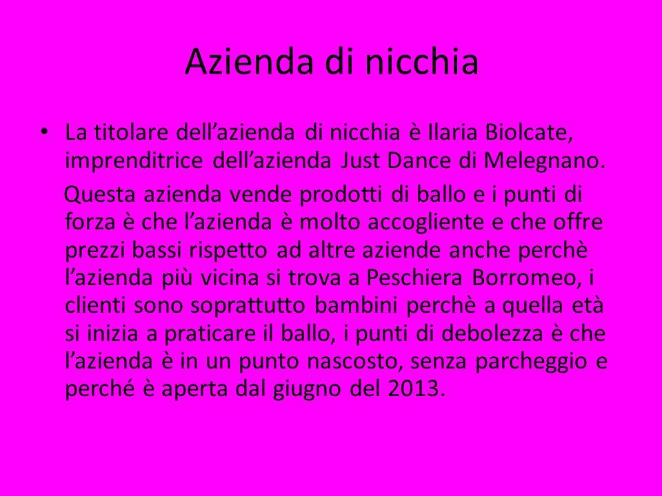 Azienda di nicchia La titolare dell'azienda di nicchia è Ilaria Biolcate, imprenditrice dell'azienda Just Dance di Melegnano.