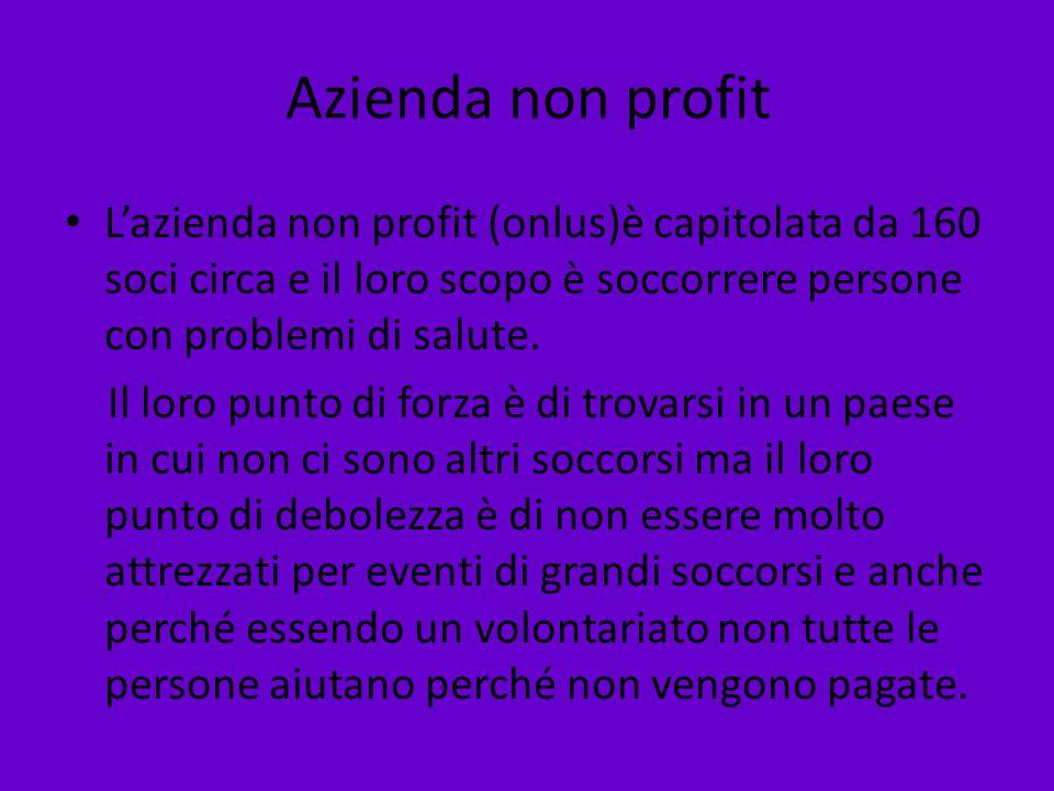 Azienda non profit L'azienda non profit (onlus)è capitolata da 160 soci circa e il loro scopo è soccorrere persone con problemi di salute.