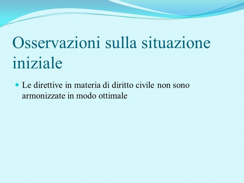 Osservazioni sulla situazione iniziale Le direttive in materia di diritto civile non sono armonizzate in modo ottimale