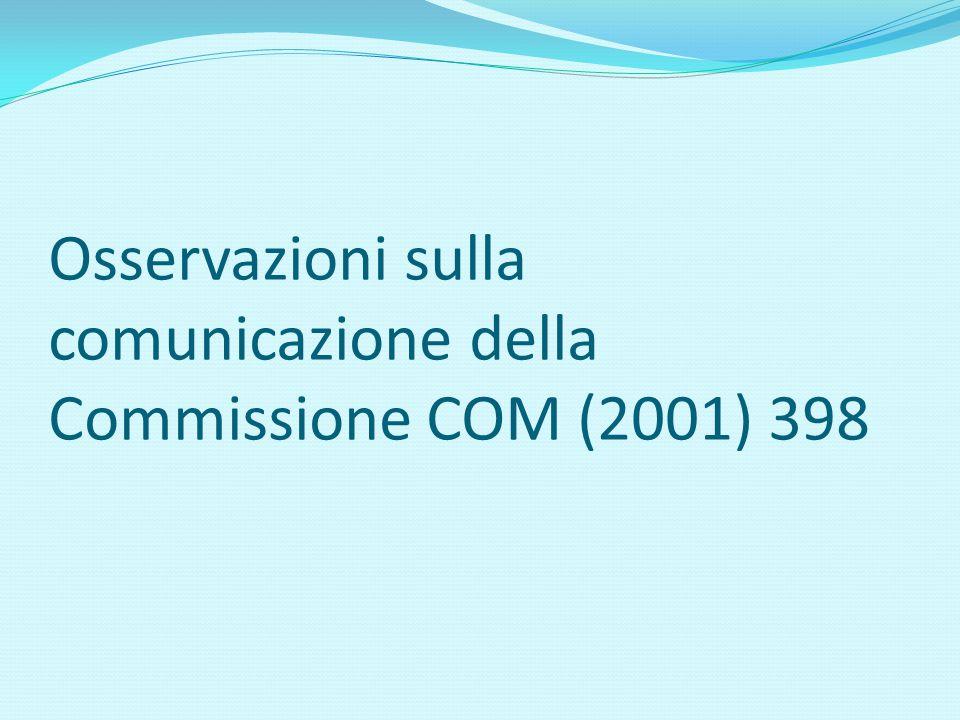 Osservazioni sulla comunicazione della Commissione COM (2001) 398