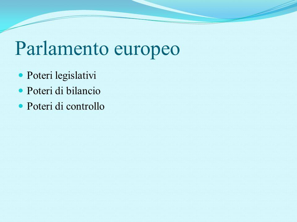 Parlamento europeo Poteri legislativi Poteri di bilancio Poteri di controllo