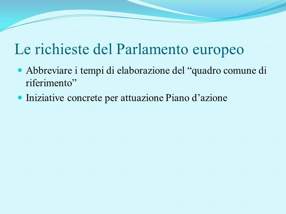 Le richieste del Parlamento europeo Abbreviare i tempi di elaborazione del quadro comune di riferimento Iniziative concrete per attuazione Piano d'azione