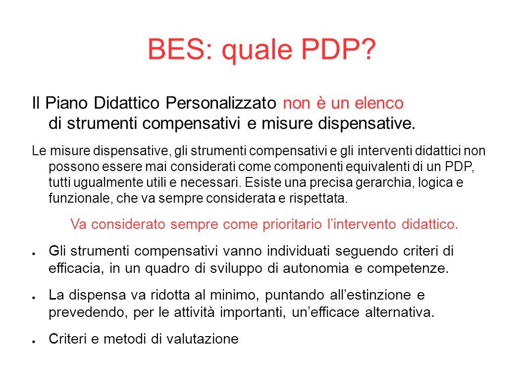 BES: quale PDP? Il Piano Didattico Personalizzato non è un elenco di strumenti compensativi e misure dispensative. Le misure dispensative, gli strumen