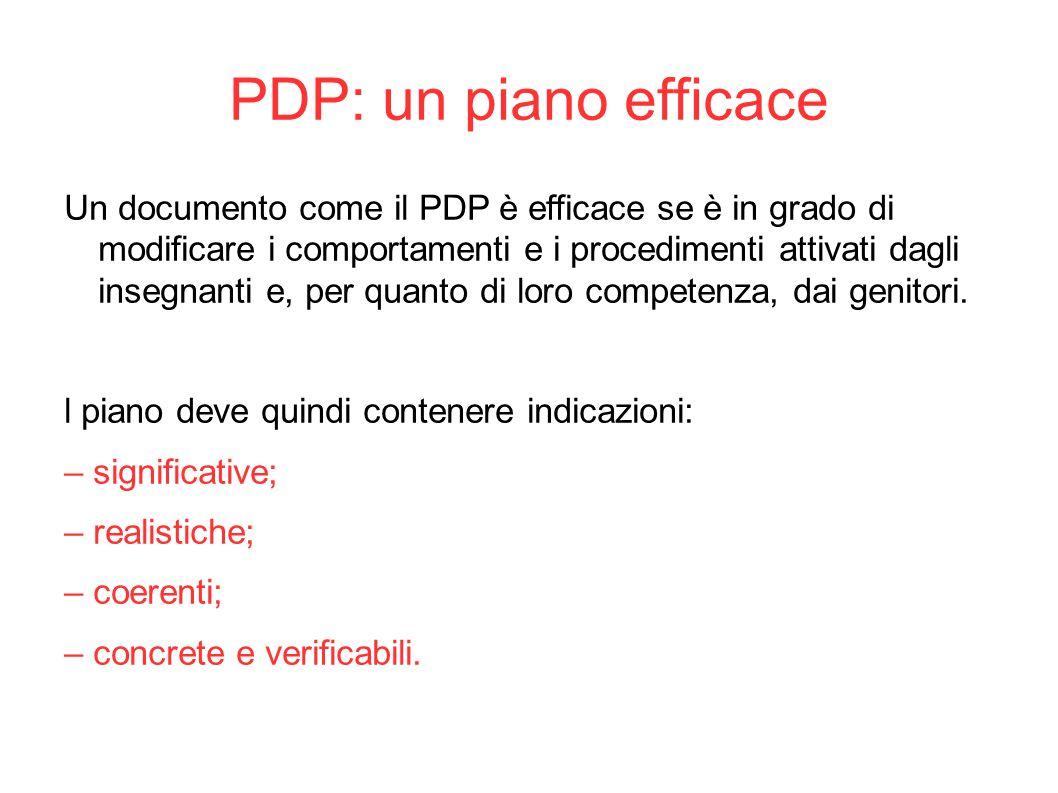 PDP: un piano efficace Un documento come il PDP è efficace se è in grado di modificare i comportamenti e i procedimenti attivati dagli insegnanti e, p