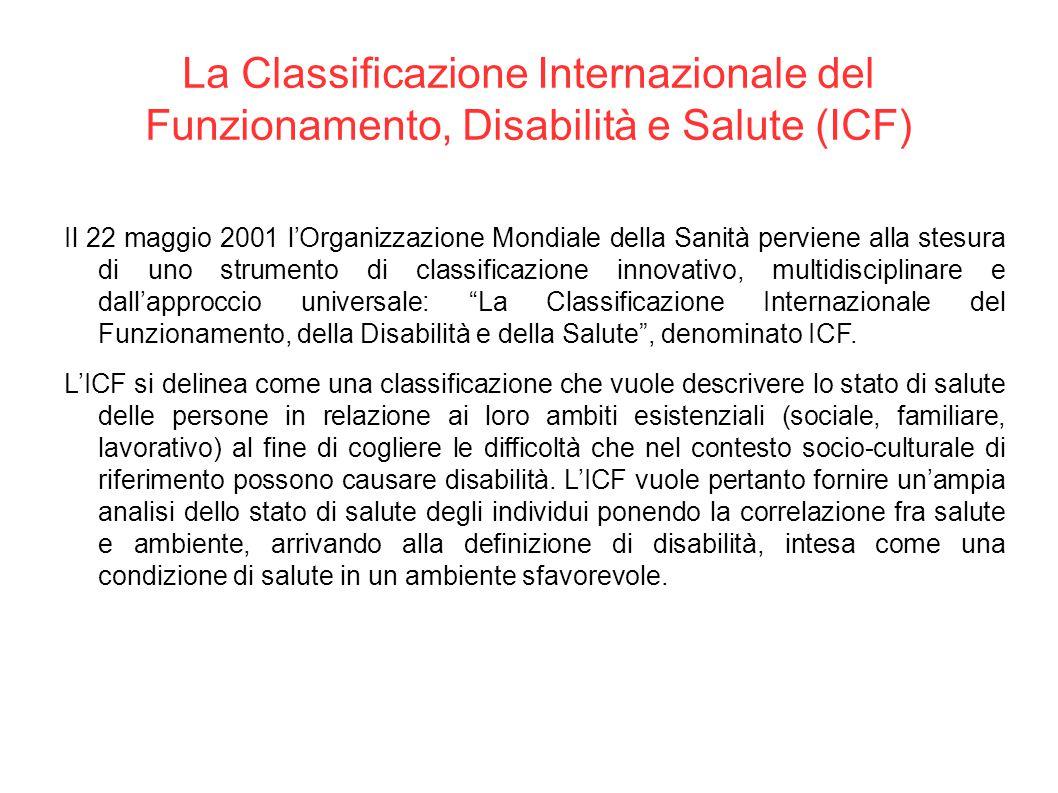 La Classificazione Internazionale del Funzionamento, Disabilità e Salute (ICF) Il 22 maggio 2001 l'Organizzazione Mondiale della Sanità perviene alla