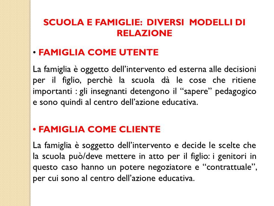 SCUOLA E FAMIGLIE: DIVERSI MODELLI DI RELAZIONE FAMIGLIA COME UTENTE La famiglia è oggetto dell'intervento ed esterna alle decisioni per il figlio, pe