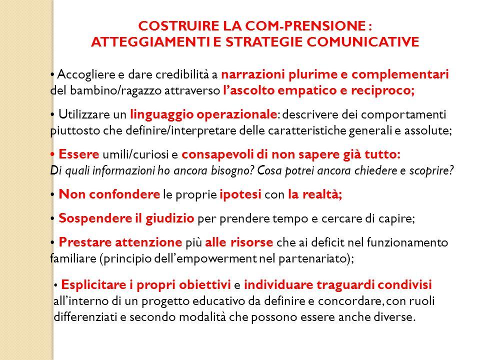 COSTRUIRE LA COM-PRENSIONE : ATTEGGIAMENTI E STRATEGIE COMUNICATIVE Accogliere e dare credibilità a narrazioni plurime e complementari del bambino/rag
