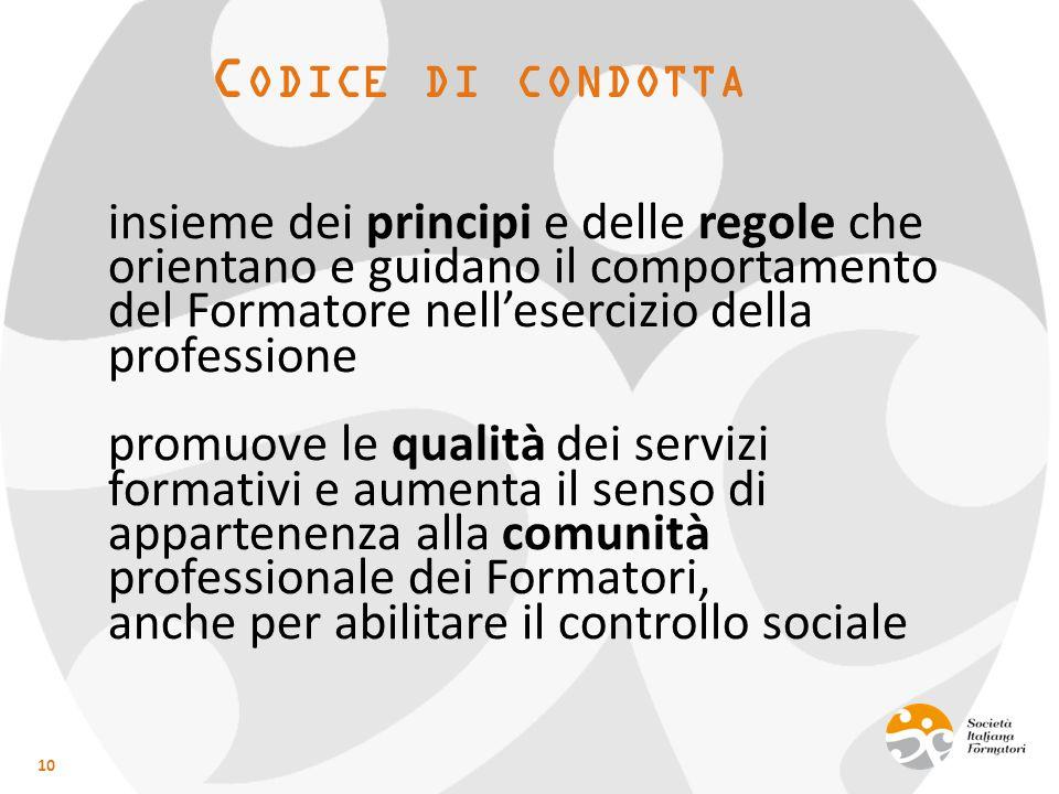 C ODICE DI CONDOTTA insieme dei principi e delle regole che orientano e guidano il comportamento del Formatore nell'esercizio della professione promuo