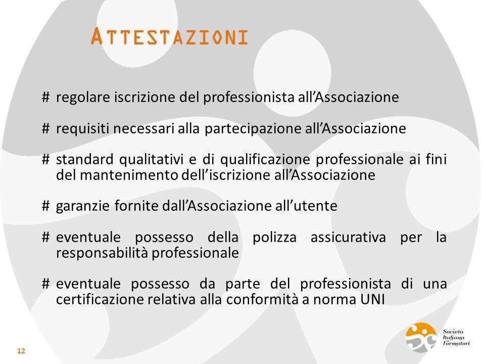 A TTESTAZIONI 12 #regolare iscrizione del professionista all'Associazione #requisiti necessari alla partecipazione all'Associazione #standard qualitat