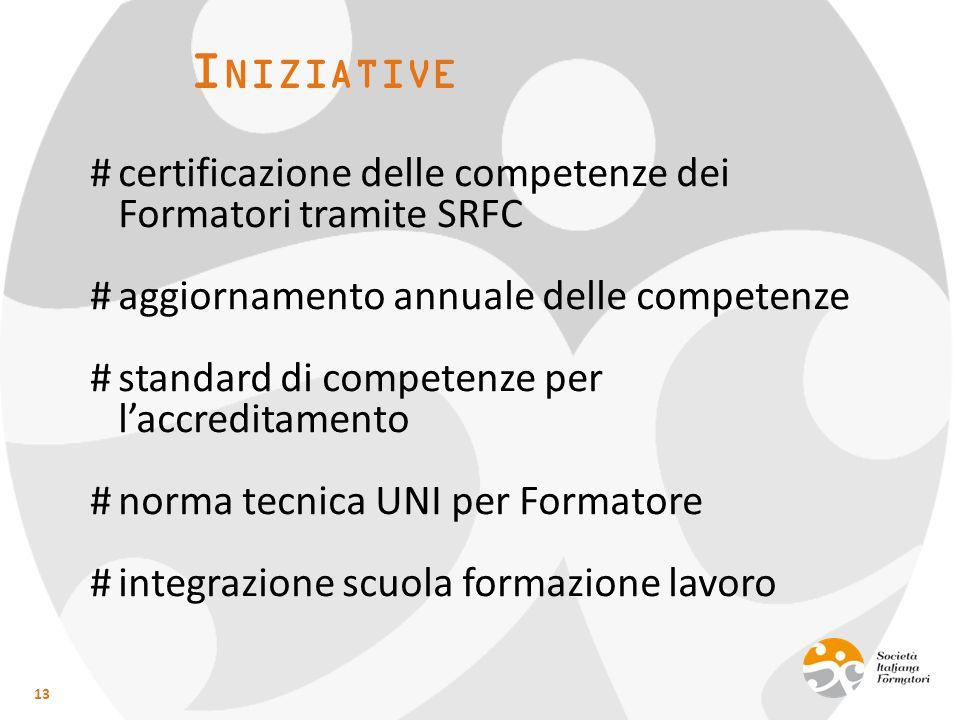 I NIZIATIVE 13 #certificazione delle competenze dei Formatori tramite SRFC #aggiornamento annuale delle competenze #standard di competenze per l'accreditamento #norma tecnica UNI per Formatore #integrazione scuola formazione lavoro