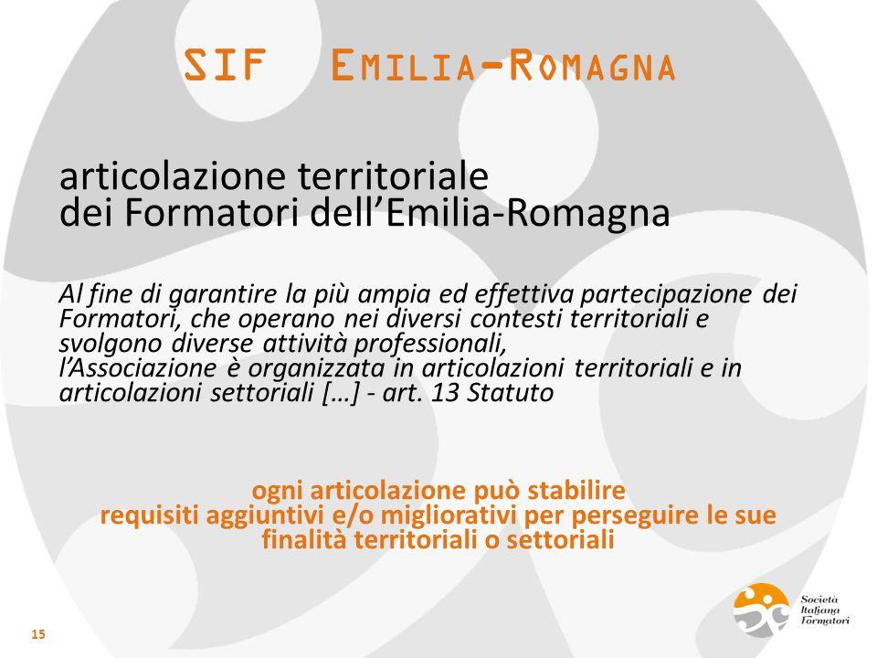 SIF E MILIA -R OMAGNA articolazione territoriale dei Formatori dell'Emilia-Romagna Al fine di garantire la più ampia ed effettiva partecipazione dei F
