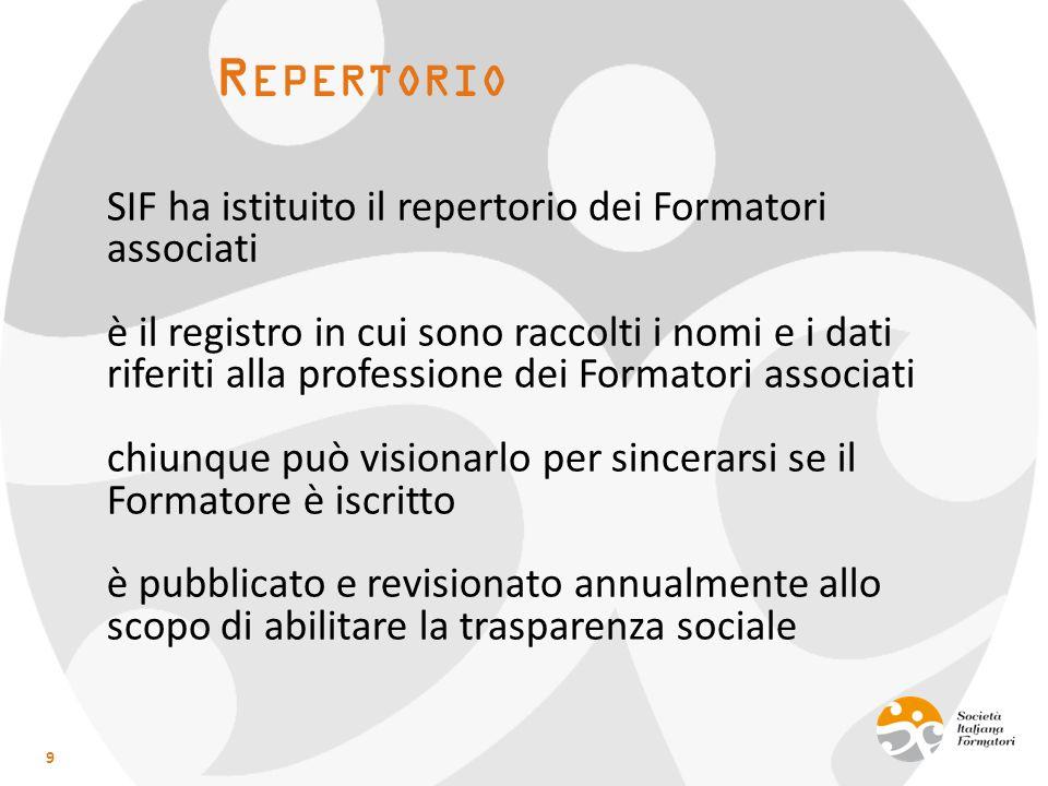 R EPERTORIO SIF ha istituito il repertorio dei Formatori associati è il registro in cui sono raccolti i nomi e i dati riferiti alla professione dei Fo