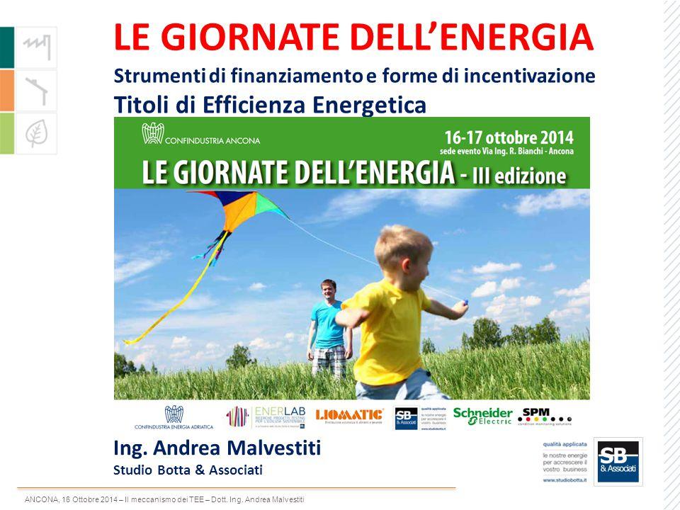 ANCONA, 16 Ottobre 2014 – Il meccanismo dei TEE – Dott. Ing. Andrea Malvestiti LE GIORNATE DELL'ENERGIA Strumenti di finanziamento e forme di incentiv