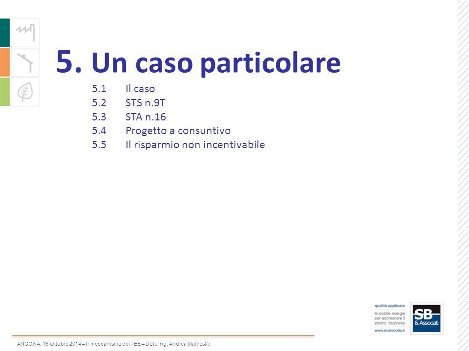 ANCONA, 16 Ottobre 2014 – Il meccanismo dei TEE – Dott. Ing. Andrea Malvestiti 5. Un caso particolare 5.1Il caso 5.2 STS n.9T 5.3STA n.16 5.4 Progetto