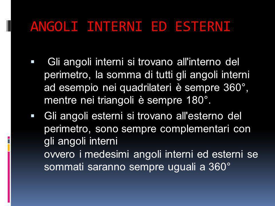 ANGOLI INTERNI ED ESTERNI  -Gli angoli interni si trovano all'interno del perimetro, la somma di tutti gli angoli interni ad esempio nei quadrilateri