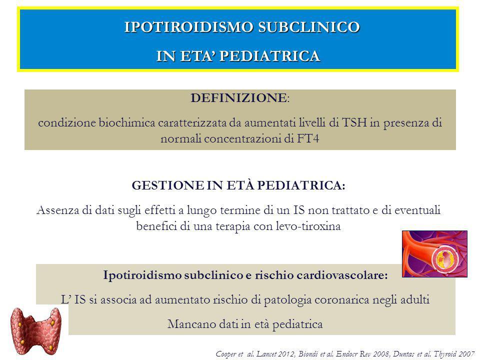 CLINICIBIOCHIMICI BMI (adiposità totale) Profilo lipidico (CT, TG, C-LDL, C-HDL) Vita/Altezza (WHtR) (adiposità viscerale) Indice aterogenico (IA) (CT/C-HDL) Rapporto TG/C-HDL Omocisteina FATTORI DI RISCHIO CARDIOVASCOLARE STUDIATI CRITERI DI INCLUSIONE CRITERI DI ESCLUSIONE TSH compreso tra 4.5 e 10 mU/L per ≥ 2 anni Presenza di patologie croniche e/o sindromi genetiche Assenza tiroidite autoimmune Farmaci interferenti con la funzione tiroidea Assenza di gozzo e sintomi da ipotiroidismo Storia di irradiazione nella regione del collo Adeguata ioduria Elevati livelli di TSH allo screening neonatale Normale peso corporeo Familiarità per malattie cardiovascolari precoci CRITERI DI INCLUSIONE ED ESCLUSIONE OBIETTIVO E DISEGNO DELLO STUDIO OBIETTIVO E DISEGNO DELLO STUDIO OBIETTIVO: Valutare fattori di rischio cardiovascolare clinici e biochimici in bambini con IS