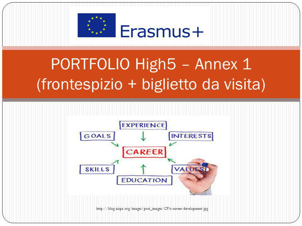 PORTFOLIO High5 – Annex 1 (frontespizio + biglietto da visita) http://blog.aicpa.org/images/post_images/CPA-career-development.jpg