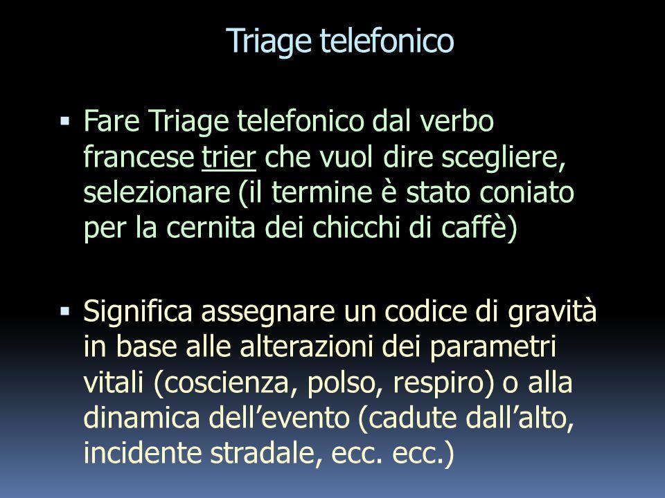Compiti del personale infermieristico  Ricezione, registrazione e selezione delle chiamate  Codificazione delle chiamate e delle risposte (triage te