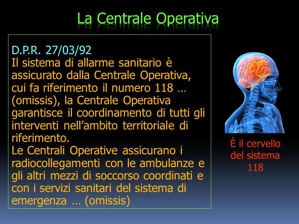 Il sistema Emergenza - Urgenza È costituito da:  Sistema di allarme sanitario: Centrale di Ascolto Locale (C.O.118)  Sistema territoriale di soccors