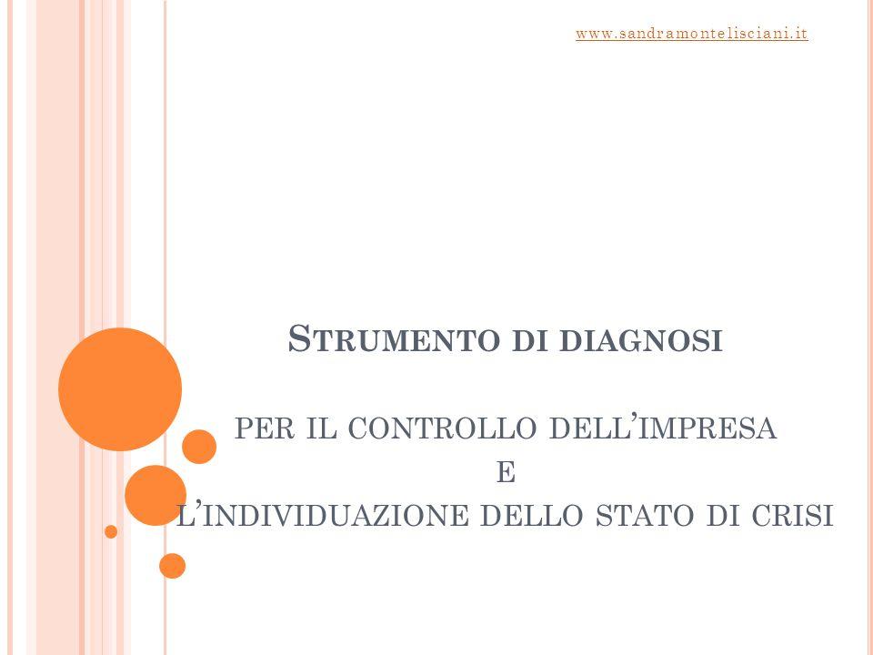S TRUMENTO DI DIAGNOSI PER IL CONTROLLO DELL ' IMPRESA E L ' INDIVIDUAZIONE DELLO STATO DI CRISI www.sandramontelisciani.it
