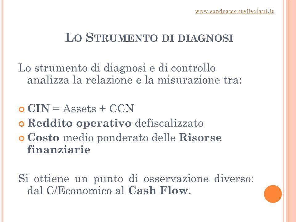 L O S TRUMENTO DI DIAGNOSI Lo strumento di diagnosi e di controllo analizza la relazione e la misurazione tra: CIN = Assets + CCN Reddito operativo de