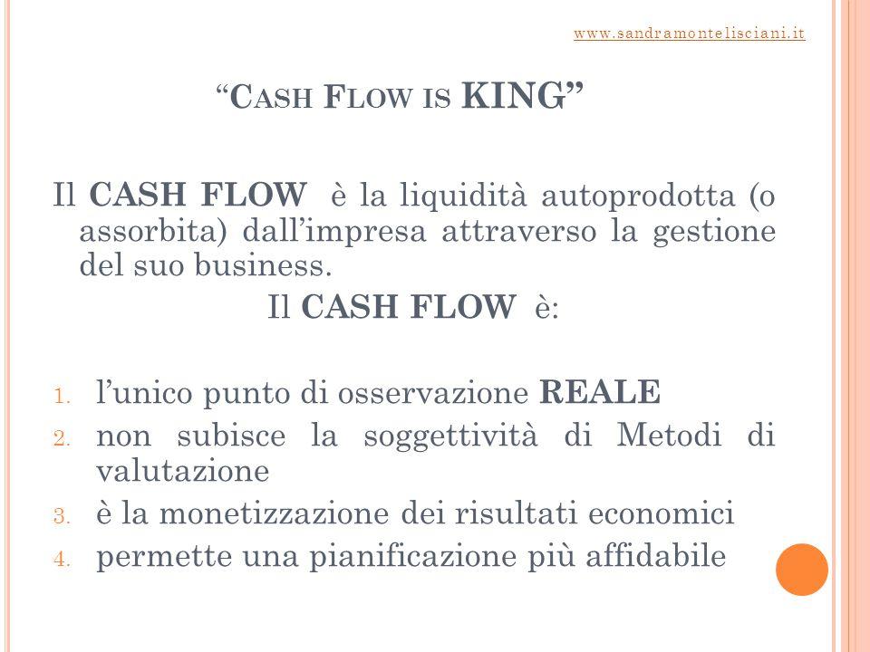 C ASH F LOW IS KING Il CASH FLOW è la liquidità autoprodotta (o assorbita) dall'impresa attraverso la gestione del suo business.