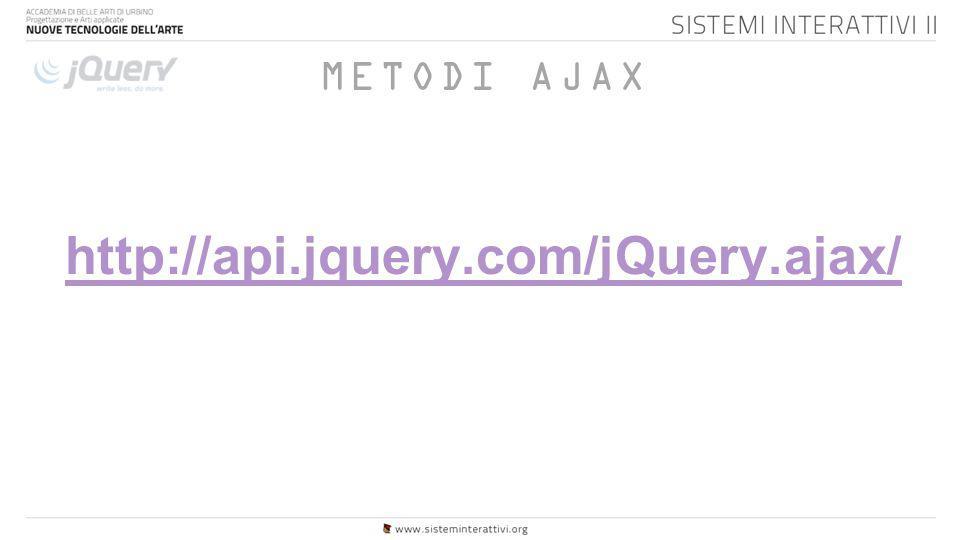 METODI AJAX http://api.jquery.com/jQuery.ajax/