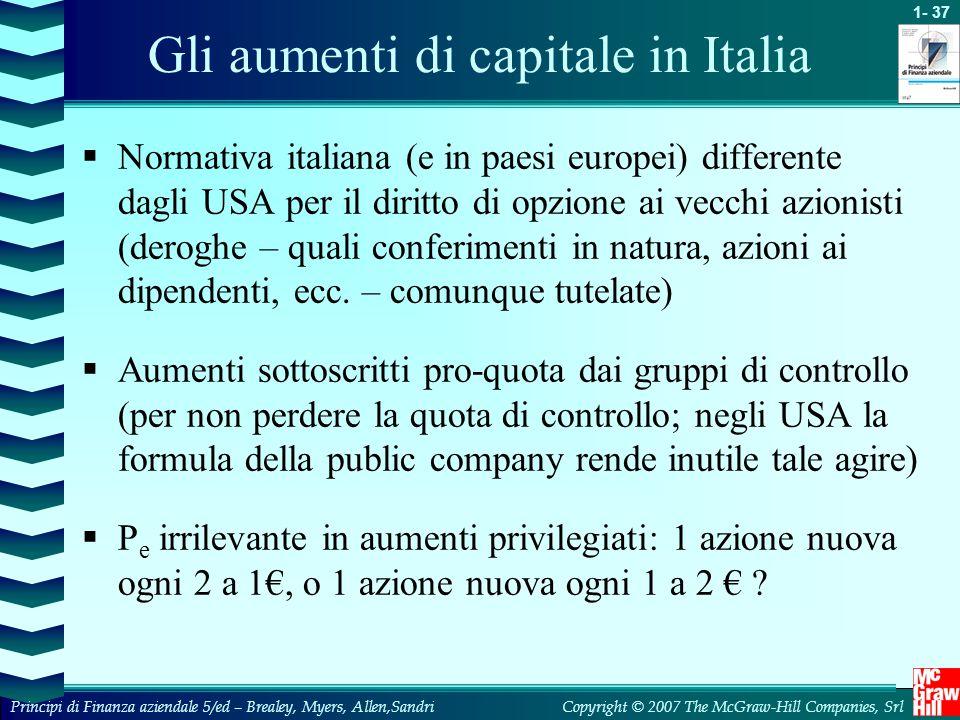 1- 37 Copyright © 2007 The McGraw-Hill Companies, SrlPrincipi di Finanza aziendale 5/ed – Brealey, Myers, Allen,Sandri Gli aumenti di capitale in Ital
