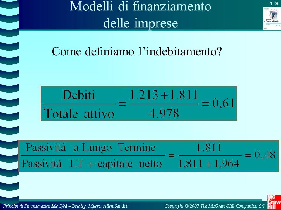 1- 9 Copyright © 2007 The McGraw-Hill Companies, SrlPrincipi di Finanza aziendale 5/ed – Brealey, Myers, Allen,Sandri Come definiamo l'indebitamento?