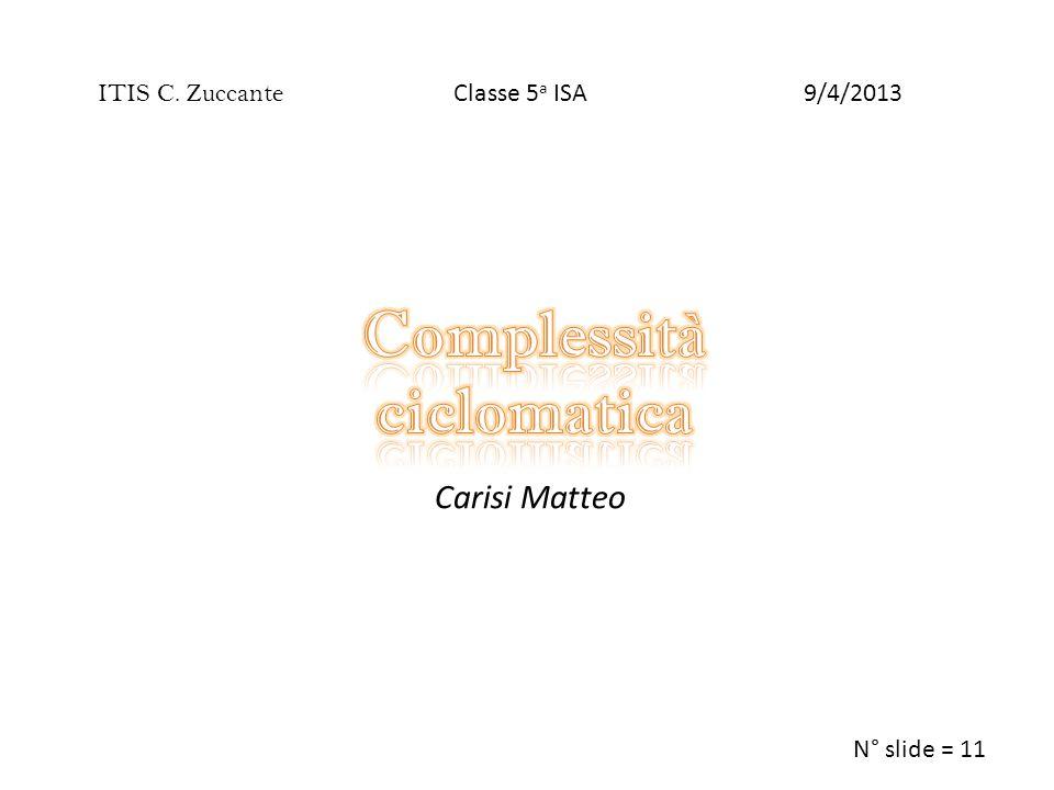 Carisi Matteo ITIS C. Zuccante N° slide = 11 9/4/2013Classe 5 a ISA