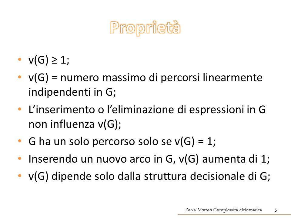 v(G) ≥ 1; v(G) = numero massimo di percorsi linearmente indipendenti in G; L'inserimento o l'eliminazione di espressioni in G non influenza v(G); G ha un solo percorso solo se v(G) = 1; Inserendo un nuovo arco in G, v(G) aumenta di 1; v(G) dipende solo dalla struttura decisionale di G; Carisi Matteo Complessità ciclomatica 5