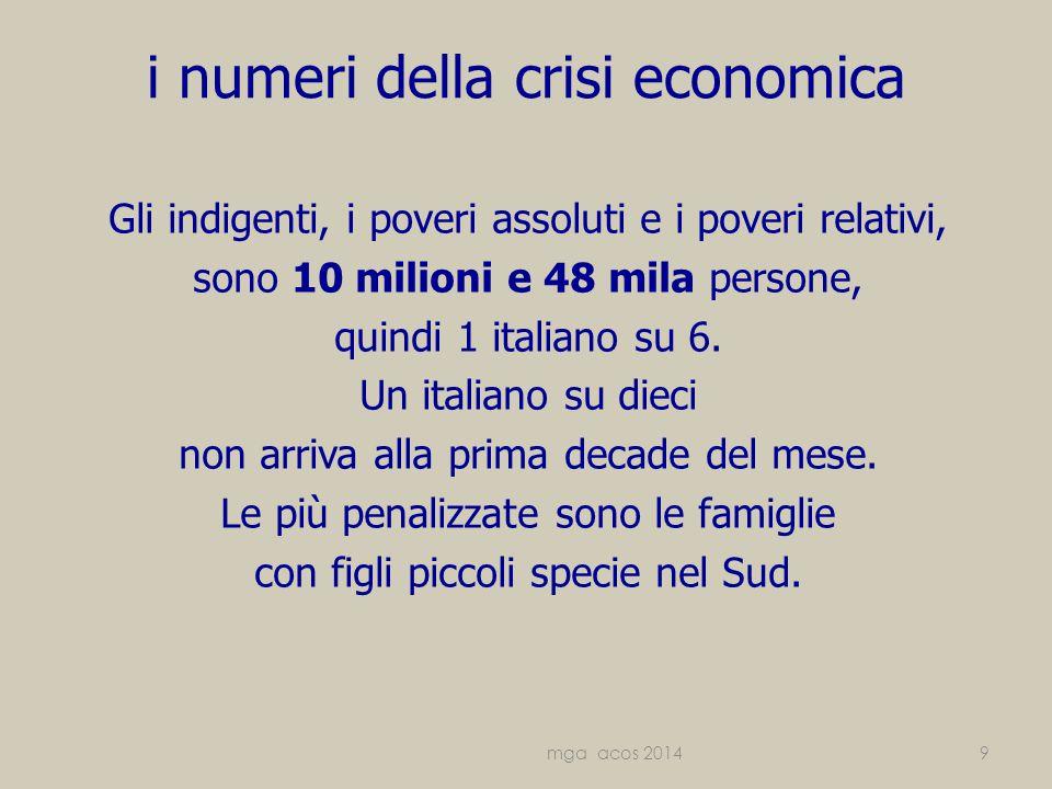 i numeri della crisi economica Gli indigenti, i poveri assoluti e i poveri relativi, sono 10 milioni e 48 mila persone, quindi 1 italiano su 6.