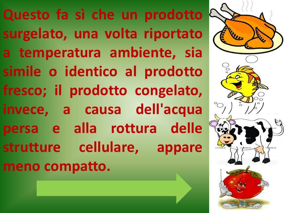Questo fa sì che un prodotto surgelato, una volta riportato a temperatura ambiente, sia simile o identico al prodotto fresco; il prodotto congelato, i