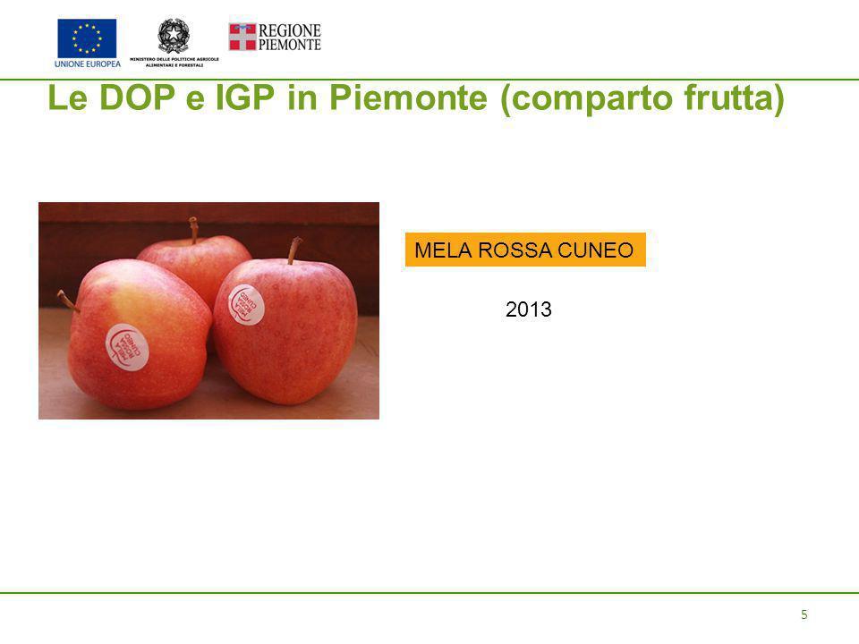 5 Le DOP e IGP in Piemonte (comparto frutta) MELA ROSSA CUNEO 2013