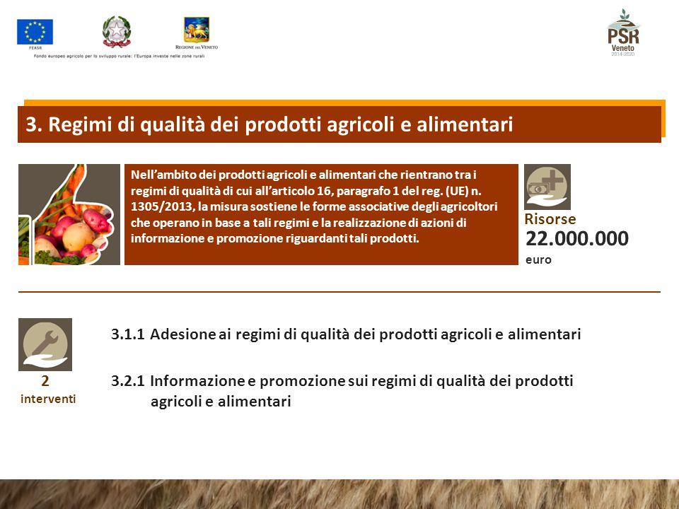 2 interventi 3.1.1 Adesione ai regimi di qualità dei prodotti agricoli e alimentari 3.2.1 Informazione e promozione sui regimi di qualità dei prodotti agricoli e alimentari 3.