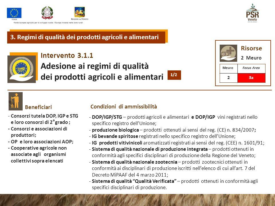 3.1.1Intervento Adesione ai regimi di qualità dei prodotti agricoli e alimentari 3.