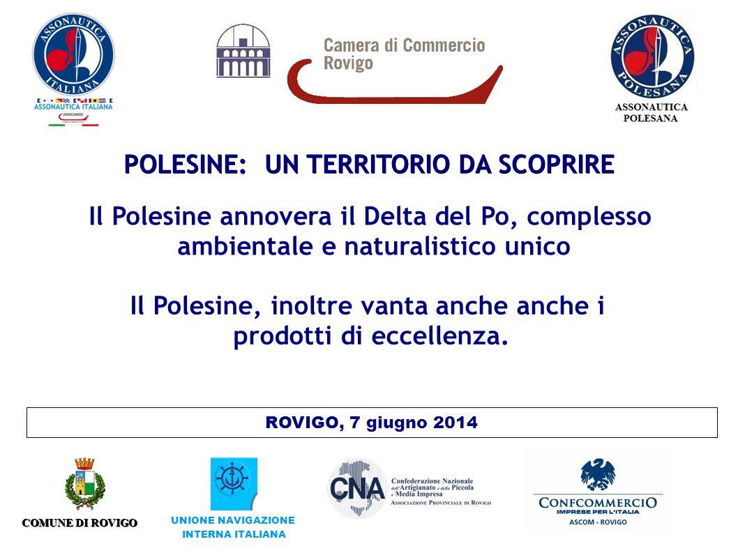 POLESINE: UN TERRITORIO DA SCOPRIRE ROVIGO, 7 giugno 2014 COMUNE DI ROVIGO UNIONE NAVIGAZIONE INTERNA ITALIANA Il Polesine annovera il Delta del Po, complesso ambientale e naturalistico unico Il Polesine, inoltre vanta anche anche i prodotti di eccellenza.