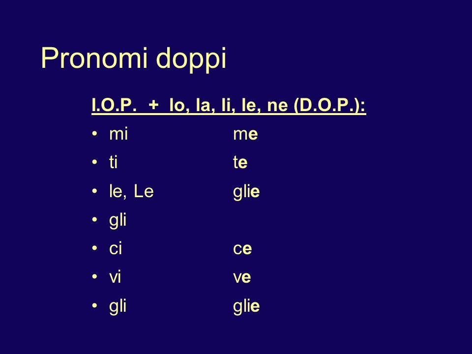 Pronomi doppi 1. I.O.P. precedes D.O.P.: Da` il libro a noi. Ce lo da`.