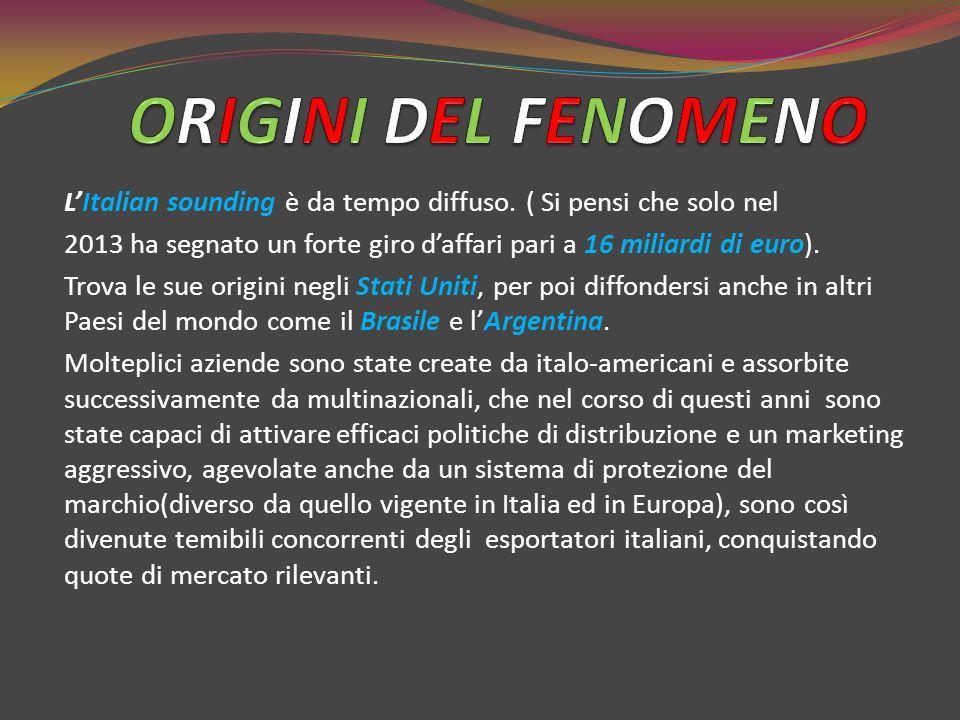 L'Italian sounding è da tempo diffuso. ( Si pensi che solo nel 2013 ha segnato un forte giro d'affari pari a 16 miliardi di euro). Trova le sue origin