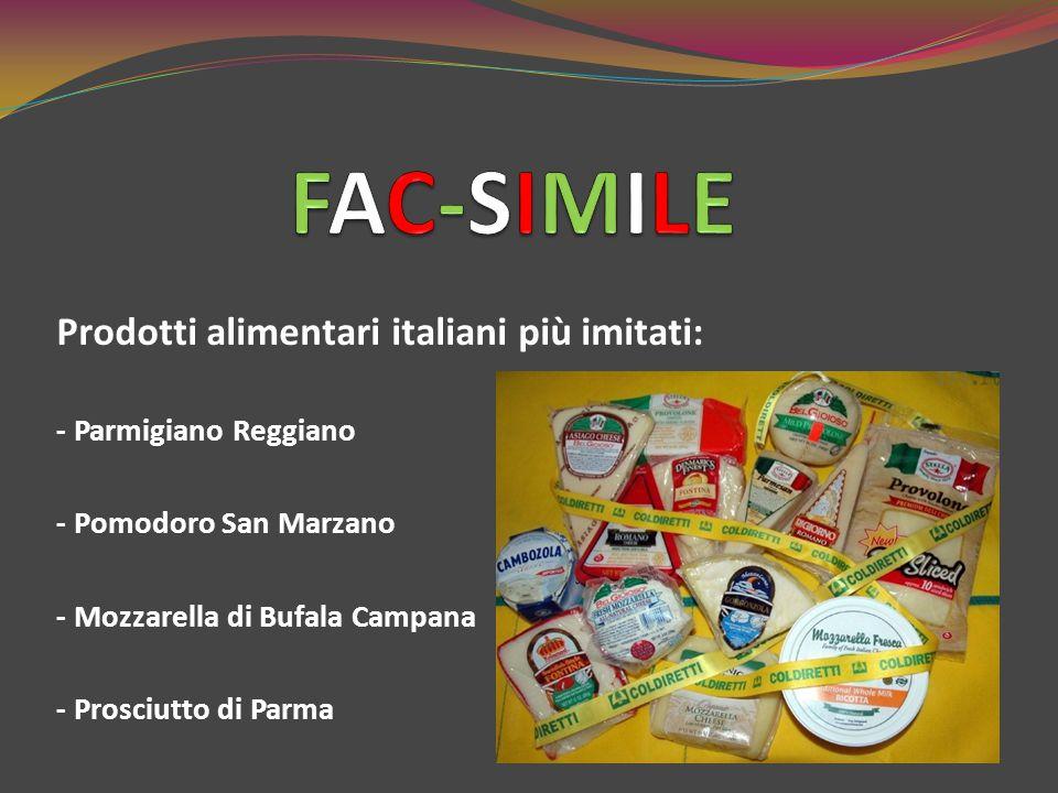 Prodotti alimentari italiani più imitati: - Parmigiano Reggiano - Pomodoro San Marzano - Mozzarella di Bufala Campana - Prosciutto di Parma