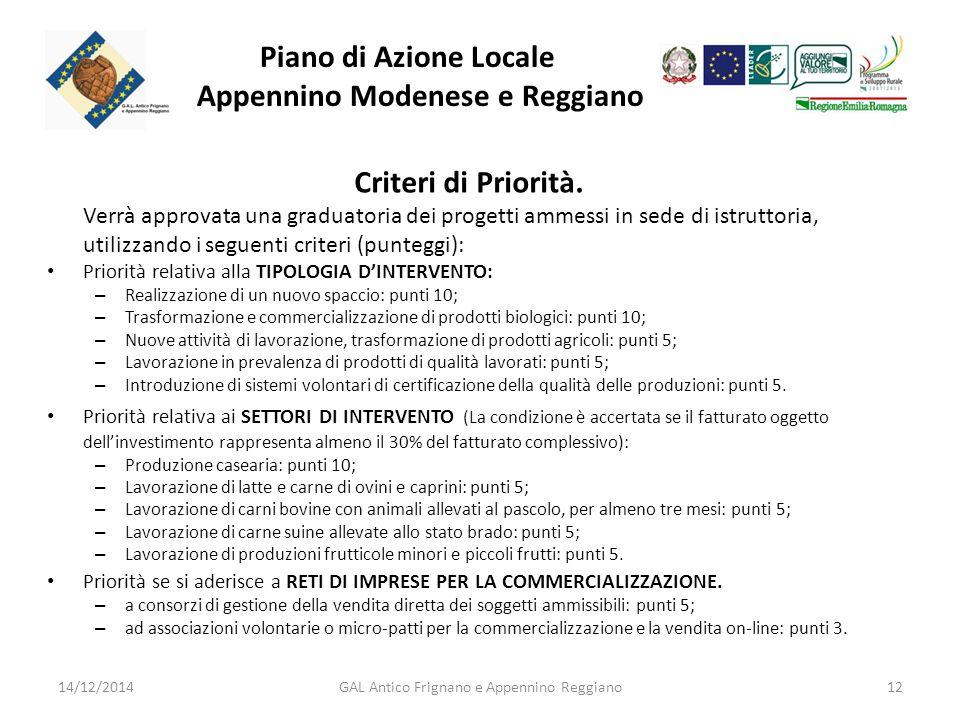 Piano di Azione Locale Appennino Modenese e Reggiano Criteri di Priorità.