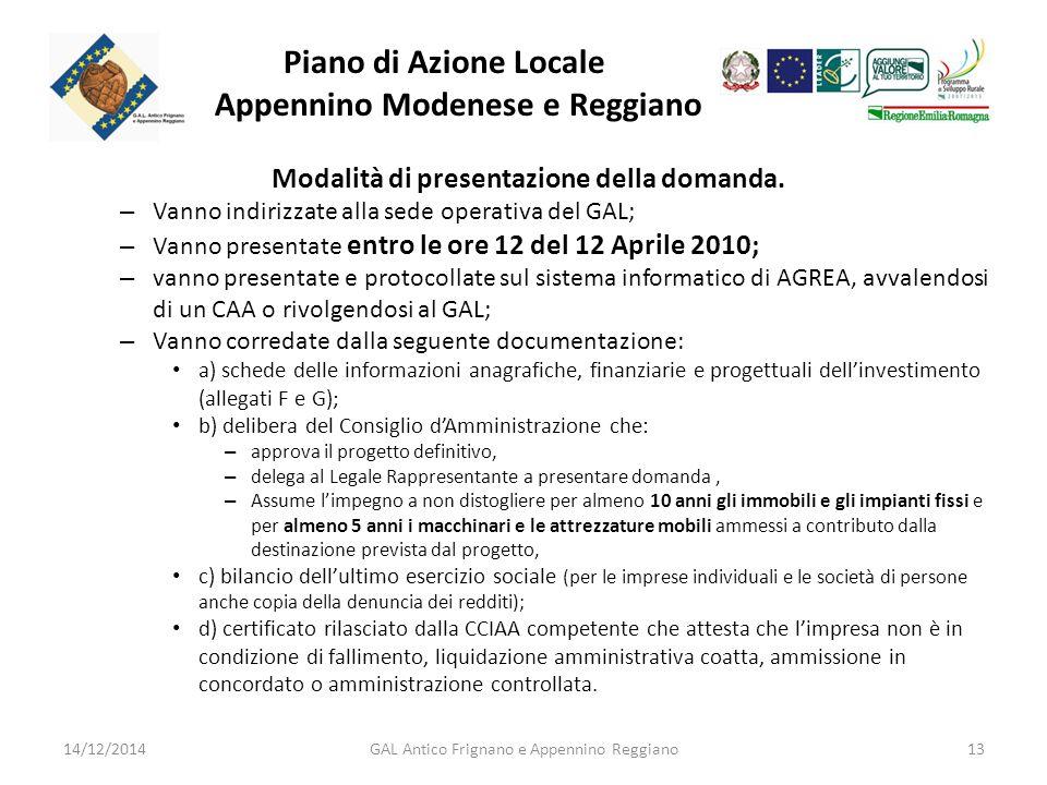 Piano di Azione Locale Appennino Modenese e Reggiano Modalità di presentazione della domanda.