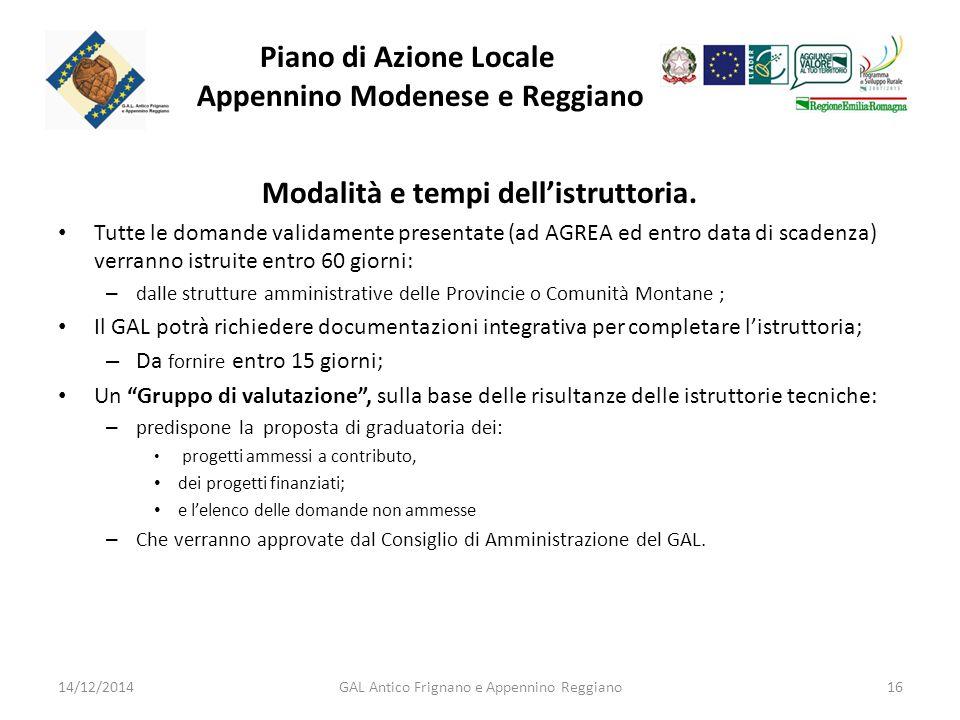 Piano di Azione Locale Appennino Modenese e Reggiano Modalità e tempi dell'istruttoria.