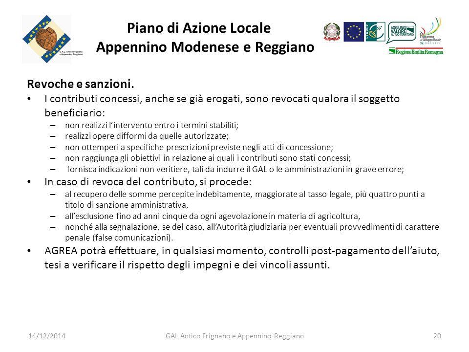 Piano di Azione Locale Appennino Modenese e Reggiano Revoche e sanzioni.